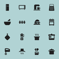 Set Of 16 Editable Meal Icons. Includes Symbols Such As Pot-Holder, Kitchen Hood, Oven And More. Can Be Used For Web, Mobile, UI And Infographic Design.