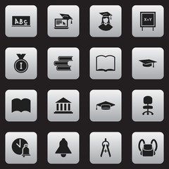 Set Of 16 Editable Science Icons. Includes Symbols Such As Dictionary, Graduated Female, School Board And More. Can Be Used For Web, Mobile, UI And Infographic Design.