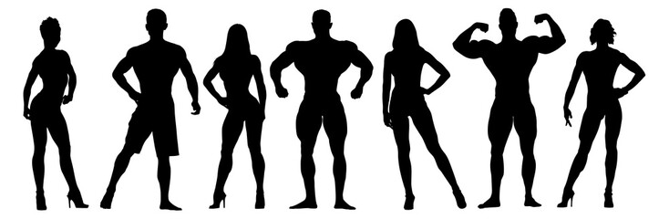 Set of bodybuilders vector silhouettes. Posing muscular men and women