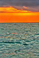Colorful painting of sunset over the sea