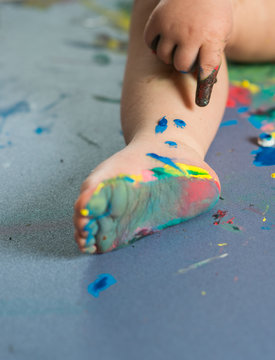 Baby feet painted