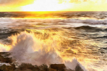 Sunset over Atlantic ocean shore and tide colorful painting