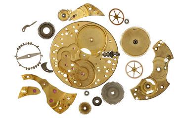 Disassembled clockwork mechanism - various part of clockwork mechanism