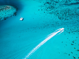 Boats on sea, aerial view, Mo'orea, South Pacific