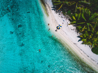 Aerial view of island beach with palm trees, people on beach and swimming in sea, Tahiti, South Pacific