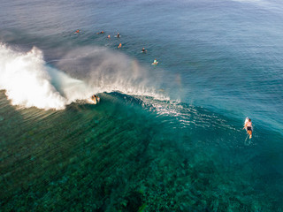 Aerial view of surfers in sea, Tahupoo, Tahiti, South Pacific