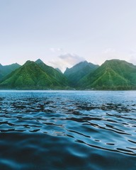 Sea and green mountains, Tahiti, South Pacific