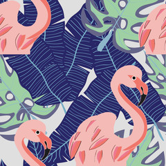 Tropical seamless pattern with pink flamingo and exotic leaves. Vector illustration.