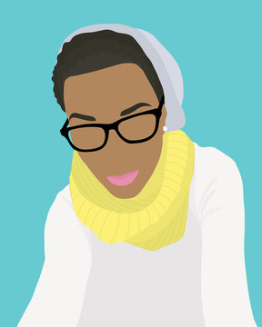 Hipster Woman with Hat and Scarf