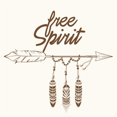 free spirit arrow with fearthers vector illustration eps 10