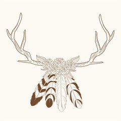 horns feathers free spirit image vector illustration eps 10