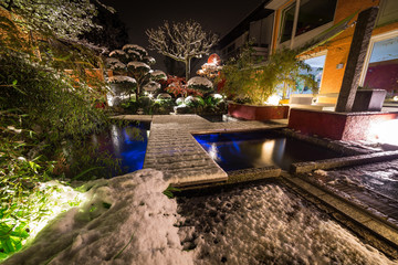 Private Garden with light fresh Snow