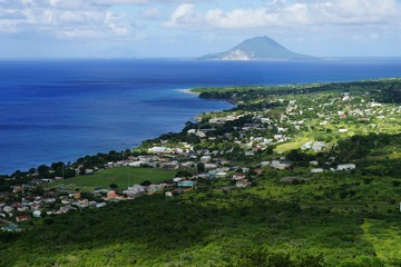 A view over seashore of Saint Kitts Island, St. Kitts and Nevis