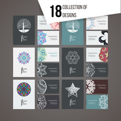 Set of vector design templates. Business card with floral circle ornament and doodle elements. Mandala style.