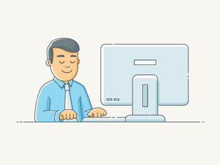 Happy man working in office on computer desk vector illustration in scribble linework style