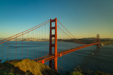 Aerial view of the Golden Gate Bridge in San Fransisco at golden hour