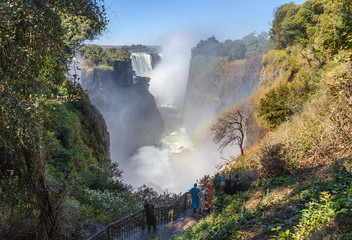 The Victoria falls is the largest curtain of water in the world (1708 meters wide). The falls and the surrounding area is the National Parks and World Heritage Site - Zambia, Zimbabwe.