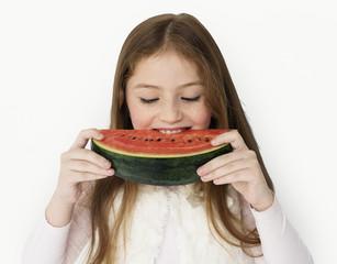 Girl Eating Watermelon Studio Concept
