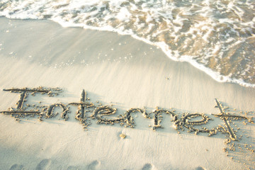 Internet Text On The Sand