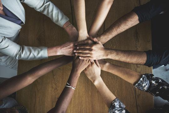 People Hands Together Partnership Teamwork