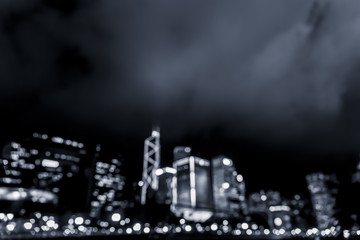 Abstract bokeh city light for background, Hong Kong with blue color