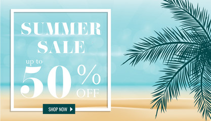 Summer sale discount  End of season banner on location beautiful beach background. Can used for gift voucher, poster,advertising social media and cover magazine promotion. Vector illustration
