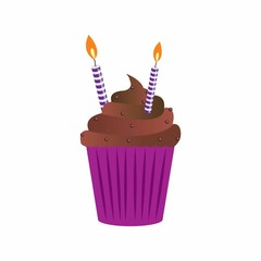 birthday cup cake with beautiful garnish and candles. vector illustration