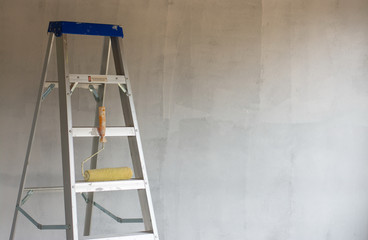 Close up aluminium ladder for a higher jobs for technician, mechanic, artisan, engineer, craftsman and etc.