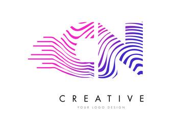 CN C N Zebra Lines Letter Logo Design with Magenta Colors