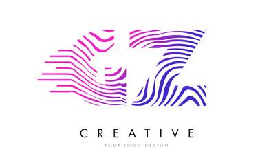 GZ G Z Zebra Lines Letter Logo Design with Magenta Colors