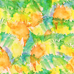 Seamless watercolor vintage pattern, background. abstract natural vision paints, ink, watercolor. Red, orange, yellow, green. For decoration and design. Splash, bright streaks of paint.