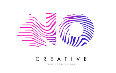 NO N O Zebra Lines Letter Logo Design with Magenta Colors