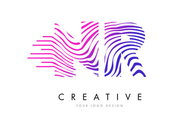 NR N R Zebra Lines Letter Logo Design with Magenta Colors