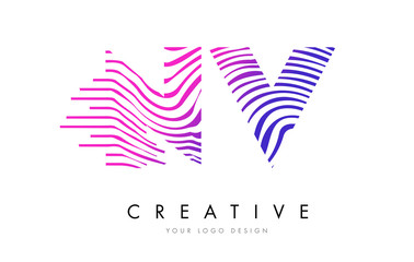 NV N V Zebra Lines Letter Logo Design with Magenta Colors