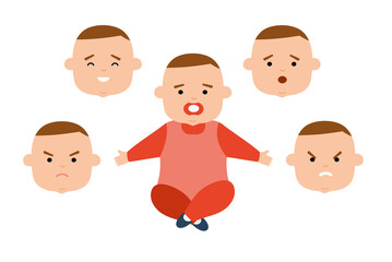 Toddler with different facial expressions. Joy, sadness, anger, surprise, irritation. Baby different emotions. Avatar icons Flat vector illustration