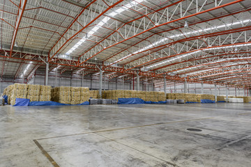 warehouse storage with cargo waiting for shipment