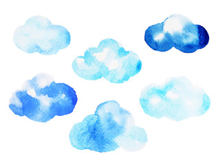 cloud watercolor painting hand drawing on paper design illustration with clipping path