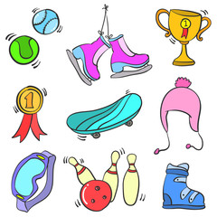 Doodle of sport equipment colorful