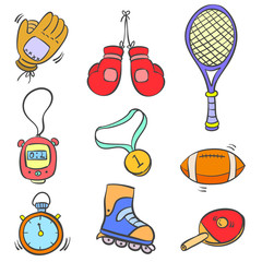 Doodle of sport equipment object various
