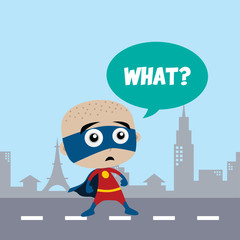 Adorable and amazing cartoon superhero in classic pose in front of city view