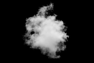 Close-up single white cloud isolated on black, Balck and white image