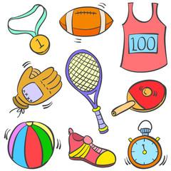 Vector art of sport equipment doodles