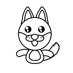 fox animal toy outline vector illustration eps 10