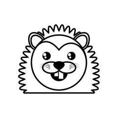 face porcupine animal outline vector illustration eps 10