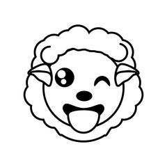 sheep face animal outline vector illustration eps 10