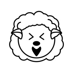 outline sheep head animal vector illustration eps 10