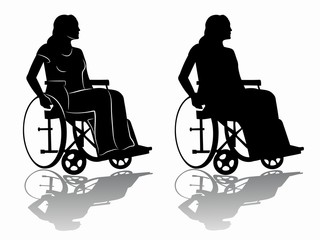 silhouette of a disabled person in wheelchair, vector draw