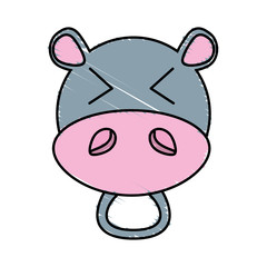 drawing hippo face animal vector illustration eps 10