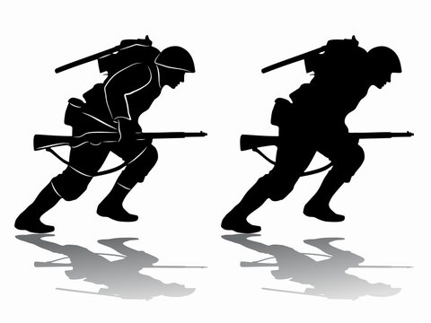 silhouette of a running soldier, vector draw