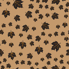 Seamless pattern with black maple leaves